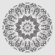 Black and White Mandala Round Sticker