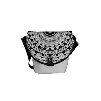 Black And White Mandala Small Courier Bag