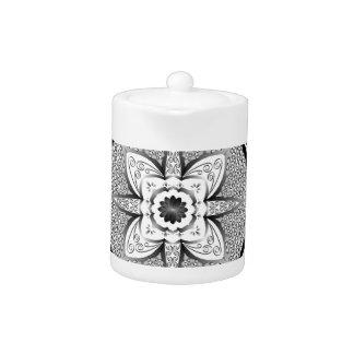 Black and white mandala teapot