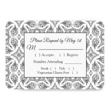 Wedding Themed Black and White Mandala Wedding RSVP card