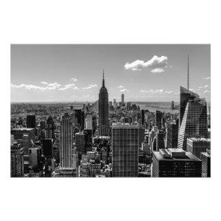 Black and White Manhattan Skyline Landscape Photo Print