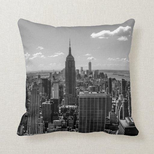 Black and White Manhattan Skyline Landscape Throw Pillows