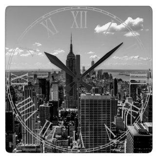 Black and White Manhattan Skyline Landscape Square Wall Clock