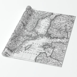 Black and White Map of Scandinavia Gift Wrap