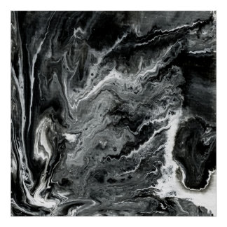 Black and White Marble Acrylic Painting Poster