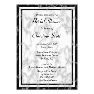 Black and White Marble Bridal Shower Invitation