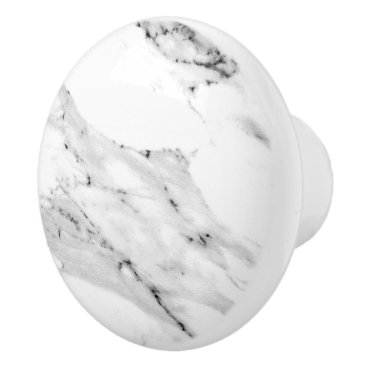 Beach Themed Black and White Marble Ceramic Knob