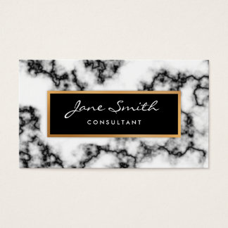 Black and White Marble, Faux Gold Foil Business Card