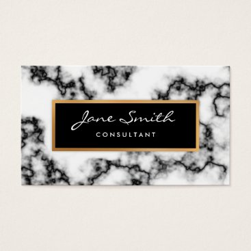Professional Business Black and White Marble, Faux Gold Foil Business Card