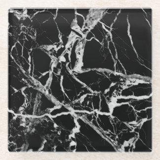 Black and White Marble Glass Coaster