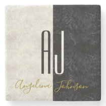 Black and White Marble Initials Monogrammed Stone Coaster