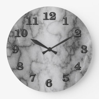 Black and White Marble Large Clock