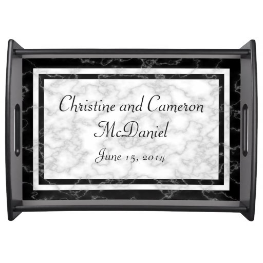 Black and White Marble look Wedding Serving Tray