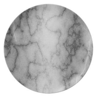 Black and White Marble Melamine Plate