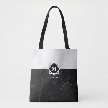 Professional Business Black and White Marble Monogram Tote Bag