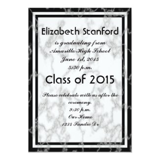 "Black and White Marble Pattern Graduation 5"" X 7"" Invitation Card"