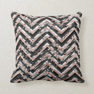 Black and White Marble Rose Gold Chevron Zigzag Throw Pillow