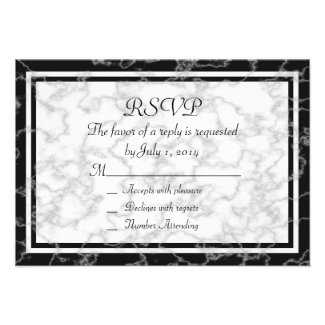 Black and White Marble RSVP Card