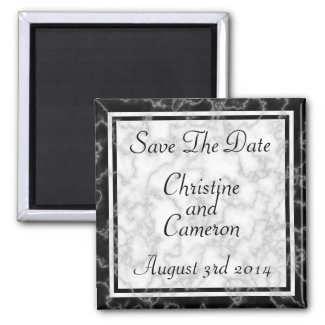 Black and White Marble Save The Date Magnet