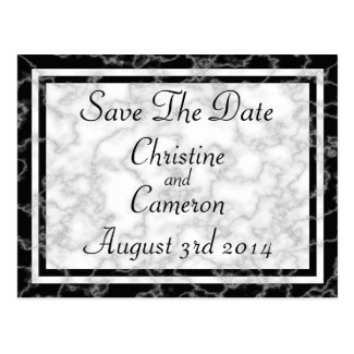 Black and White Marble Save The Date Postcard