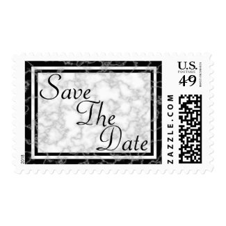 Black and White Marble Save The Date Stamp
