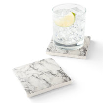 black and white marble stone coaster