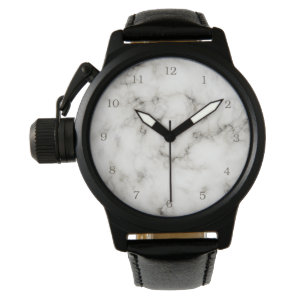 black and white marble stone finish watch