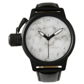 black and white marble stone finish wristwatch
