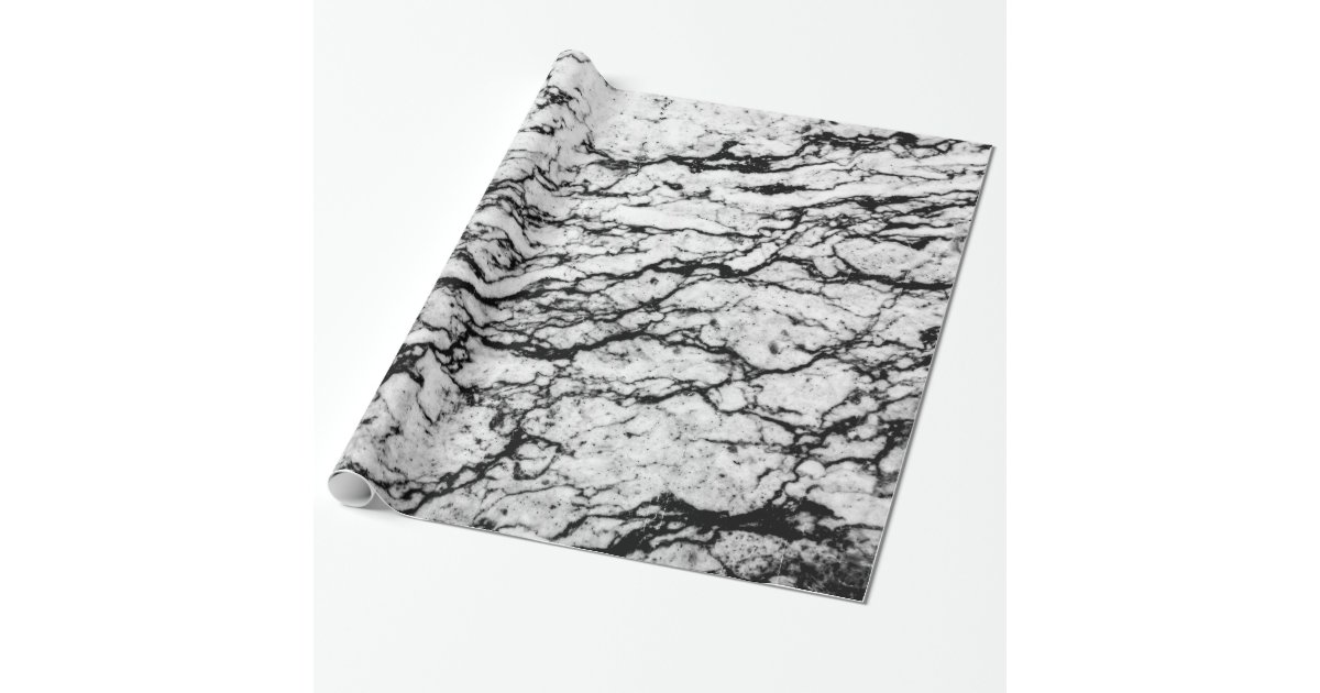 Black And White Marble Stone Pattern Wrapping Paper
