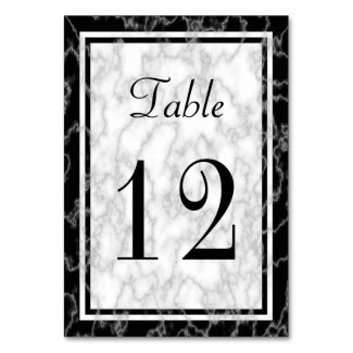 Black and White Marble Table Number Card 2 Table Card