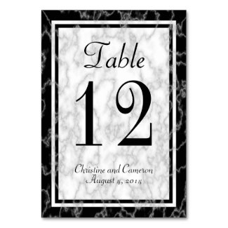 Black and White Marble Table Number Card 3 Table Cards