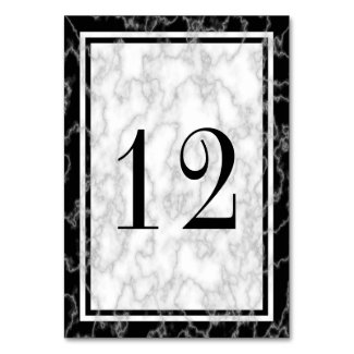 Black and White Marble Table Number Card Table Card