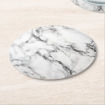 black and white marble texture round paper coaster