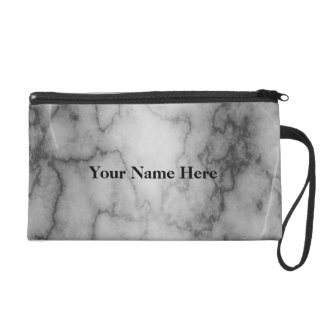 Black and White Marble Wristlet