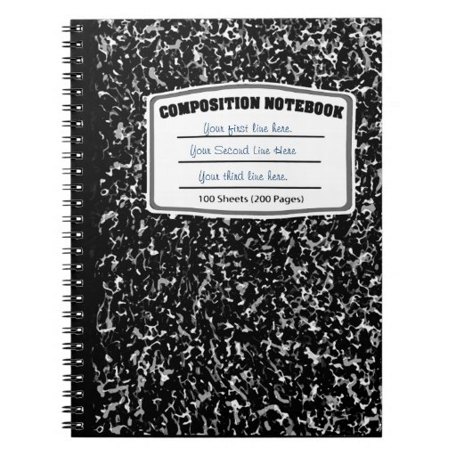 Black and white marbled print composition notebook | Zazzle