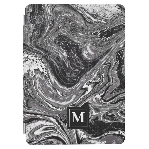 Black and white marbling design iPad air cover