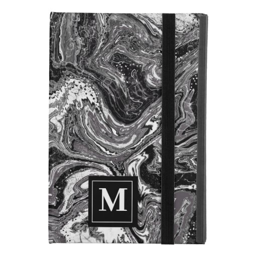 Black and white marbling design iPad mini 4 case