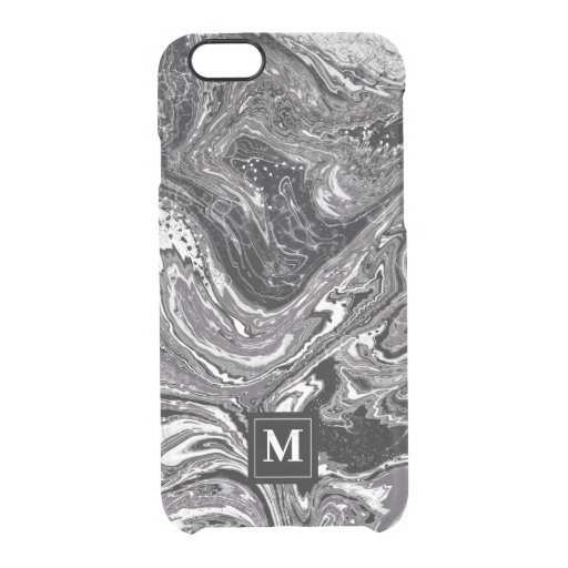 Black and white marbling design clear iPhone 6/6S case