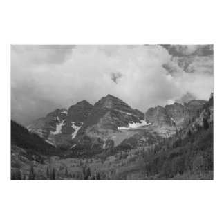 Black and White Maroon Bells Photo Poster
