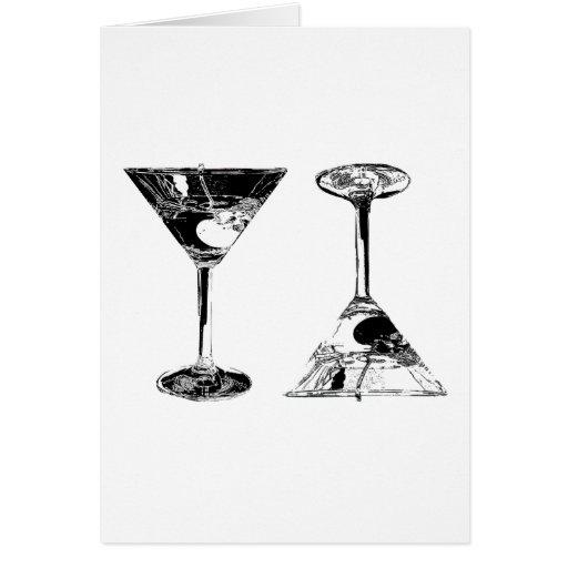 Black and White MartinisPop Art Greeting Card