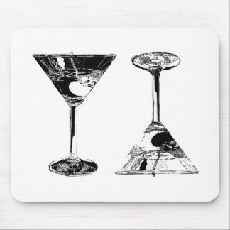Black and White MartinisPop Art Mouse Pad