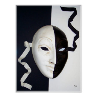 Black and White Mask Poster