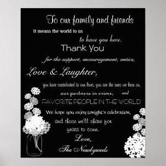 Black and White Mason Jar Wedding Thank You Sign