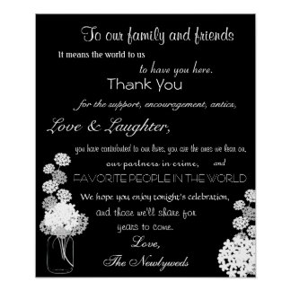 Black and White Mason Jar Wedding Thank You Sign Poster