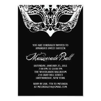 """Black and White Masquerade Invitations 5"""" X 7"""" Invitation Card"""
