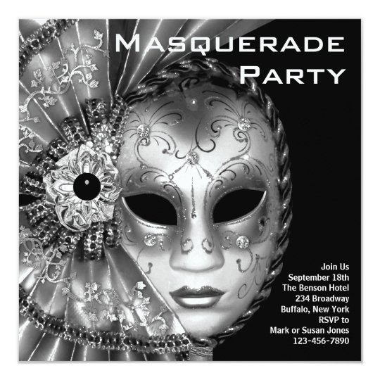 Black and White Masquerade Party Card