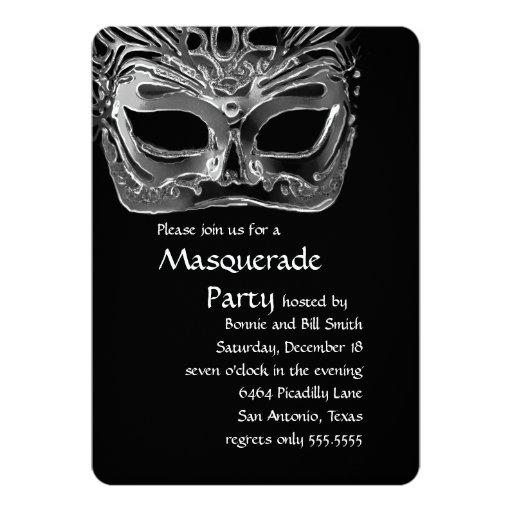 Black and White Masquerade Party Invitation
