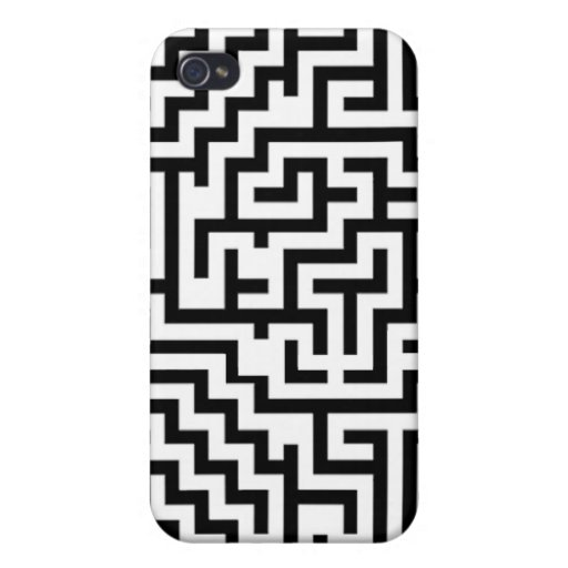 black and white maze for iPhone Case For iPhone 4
