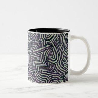 black and white maze Two-Tone coffee mug