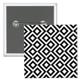 Black and White Meander 2 Inch Square Button